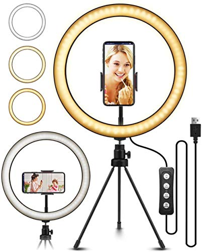 Anillo de luz para selfie, 10 pulgadas, luz LED con trípode regulable, 3 modos de luz para transmisión en vivo, fotografía, estudio de video