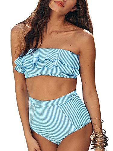 Saodimallsu Women High Waisted 2 Piece Bikini Set Bandeau Ruffle Swimsuit Top Striped Bathing Suits Blue