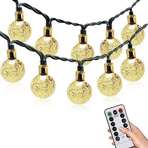 KOTONAMI Bulb Fairy Lights, 7.5M /25ft Globe Fairy Lights 50 LED Waterproof 8 Modes with Remote, USB or Battery Powered Bulb String Lights for Xmas Gazebo Patio Wedding, No Includ Battery,Warm White
