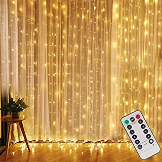 Window Curtain Lights, 8 Lighting Modes, Fairy String Lights, Remote Control USB Powered Waterproof Icicle Lights With Tim...