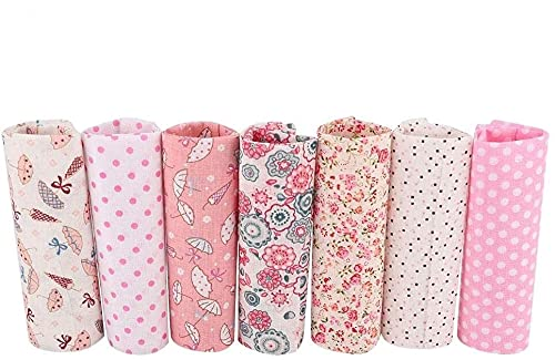 HERCHR Tela de algodón por Metro, 7 Piezas de Tela de algodón para Manualidades, Paquete de retales para Coser, acolchar, Patrones de Flores Rosas 50 x 50cm
