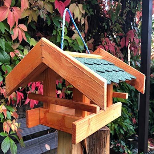 DARLUX Rechteckiges Vogel Futter Haus Futterstelle aus Holz Vogelhaus Braun/Grün