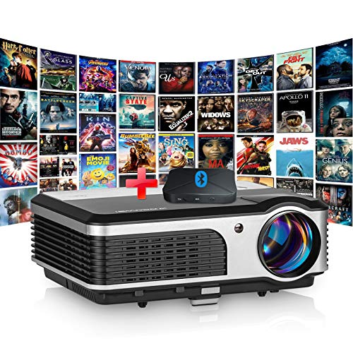 HD Video Projector 150 Inch Display,3900 Lumen Outdoor Movie Projector with 50000 Hrs LED Lamp Life Zoom USB HDMI VGA...