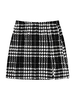 SheIn Women s Basic Stretch Plaid Mini Bodycon A-Line Pencil Skirt Black and White Large
