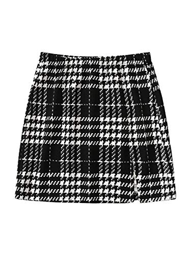 SheIn Women's Basic Stretch Plaid Mini Bodycon A-Line Pencil Skirt Black and White X-Large