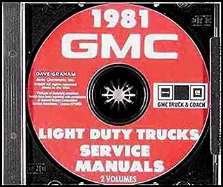 1981 GMC TRUCK & PICKUP REPAIR SHOP & OVERHAUL MANUAL For 1000 1500 2500 3500 Jimmy, Suburban, Vandura, Van Chassis, Hi-Cube Van, Value Van, Forward Control Chassis, Stepvan