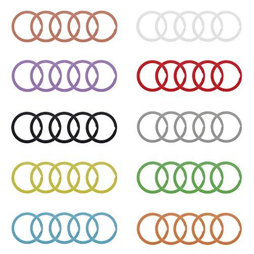 Udekit Portachiavi in Metallo Colorato 25mm per Organizzazione Chiavi (50 Pezzi per 10 Colori, Ogni Colore con 5 Pezzi)