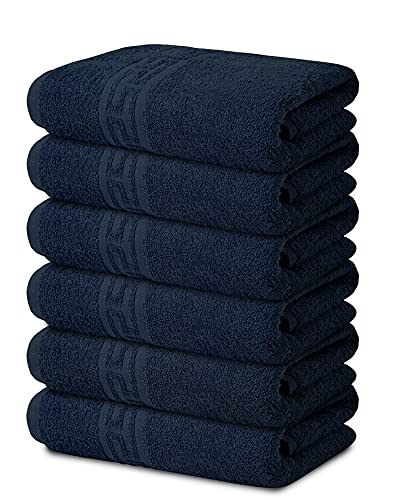TOALLA 100% Cotton Bath Towel Set Pack of 6|500 GSM|Soft Large Bath Towel|Super Absorbent|Quick Dry|Ideal for Pool Home Gym Spa Hotel|Perfect for Daily Use|Bath Towel Set 24 x 44 Inches|Navy Blue