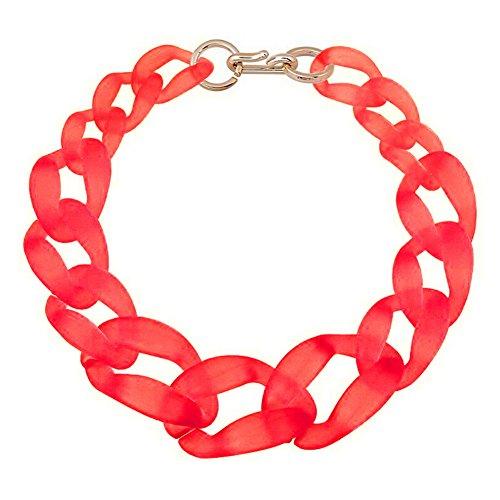 TOOGOO(R) Collar grande de cadena de plastico Joyeria de moda, Mate rojo claro