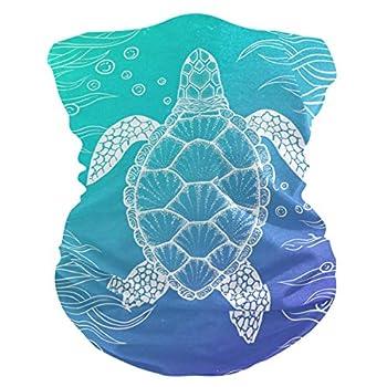 MAHU Headband Sea Ocean Animal Turtle Pattern Face UV Sun Protection Mask Neck Gaiter Magic Scarf Bandana Headwear Balaclava for Women Men