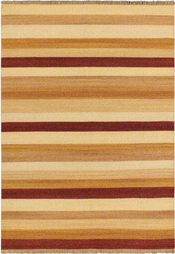 eCarpetGallery Area Rug for Living Room, Bedroom | Hand-Knotted Wool Rug | Fiesta Transitional Orange Kilim 5