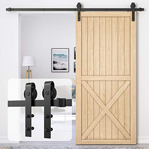 Homlux 8ft Heavy Duty Sturdy Sliding Barn Door Hardware Kit Single Door - Smoothly and Quietly - Simple and Easy to Install - Fit 1 3/8-1 3/4' Thickness Door Panel(Black)(J Shape Hangers)