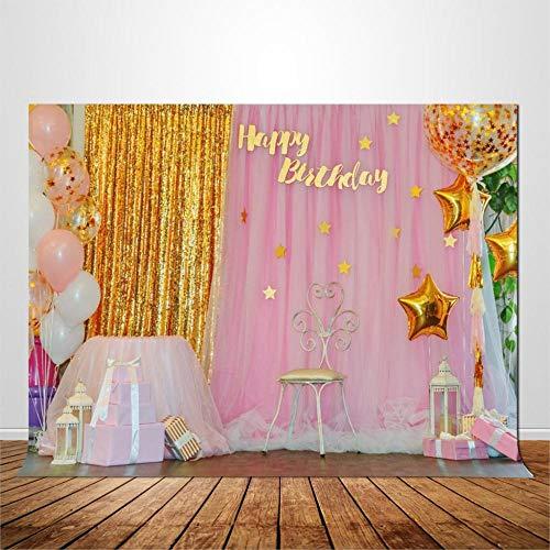 S`good Foto achtergrond, Verjaardag Photo Backdrop Voor Baby Kids Foto's Studio Fotografie Vinyl Achtergrond Stage Ballonnen En Goud Gordijn