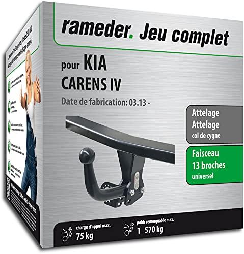 Rameder Pack, attelage démontable avec Outil + Faisceau 13 Broches Compatible avec KIA CARENS IV (160996-11139-1-FR).