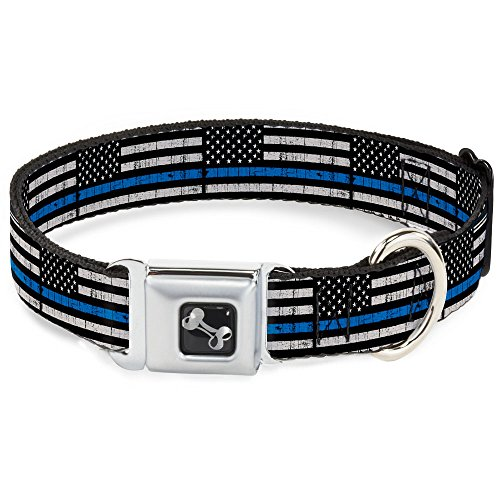 Dog Collar Seatbelt Buckle Thin Blue Line Flag Weathered Black Gray Blue 18 to 32 Inches 1.5 Inch Wide