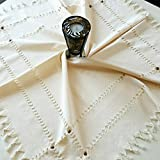 Secret Sea Collection Antique Handmade Cotton Small Tablecloth Decorated with Wooden Beads (36' X 36')