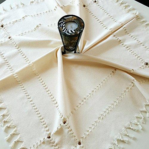 Nappe traditionnelle faite à la main de thé ou de café avec 16 perles en bois,% 100 coton naturel, (90x90cm), carré, Beige