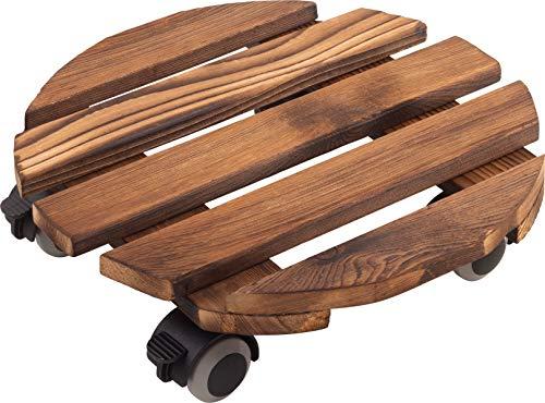 Metafranc Pflanzenroller Ø 300 mm - 60 kg Tragkraft - Kiefer-Platte - Vintage-Look - TPE-Rollen mit 4 Feststellern / Indoorroller / Blumenroller / Transporthilfe für Pflanzen / 825210