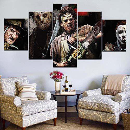 5 Stücke Horror Sägen Film Charaktere Wandkunst Bild Home Decoration Wohnzimmer Leinwanddruck Bild Druck Auf Leinwand(With Frame size)