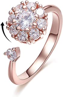 CZ Crystal Rings for Women Girls Rose Gold Ring Rotating Band Rings for Kids Lady 3 Color Statement Open Ring
