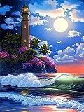 5D pintura de diamantes paisaje nocturno punto de cruz bordado de diamantes junto al mar imagen de diamantes de imitación Luna regalo de artesanía A1 60x80cm