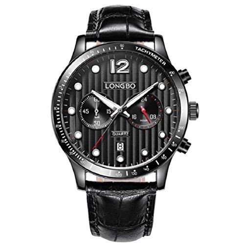 Longbo marchio sportivo cronografo orologi analogici uomini Data Giorno impermeabile quarzo Montre Homme regalo 5018 , silver black