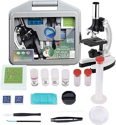 Aomekie Kinder Mikroskop Set 300X-600X-1200X mit Metall Arm und Fuß und viele Zubehör