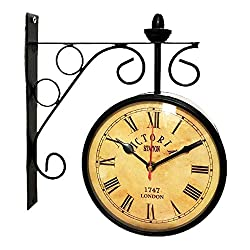 ROORKEE INTERNATIONAL Victoria Station Double Sided Railway Black Powder Coated Clock Functional Clock Home Decor (10 Inches)