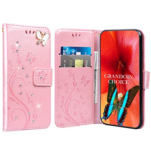 GrandoinChoice für Huawei Honor Play 8A / Y6 Pro 2019, Bling Glitzer Handyhülle im Brieftasche-Stil [Diamant-Serie] PU Leder Ledercase Flip Tasche Wallet Tasche Handytasche Cover Etui Hülle (Rosa)