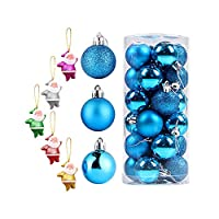 PengShi 24個/ 1セットの装飾品クリスマスツリーボール装飾品ブルーハンギングホームパーティーデコレーション