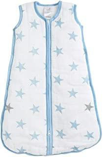 Aden by Aden and Anais Dapper 2.5 TOG Muslin Sleeping Bag, Blue, White, Extra Large