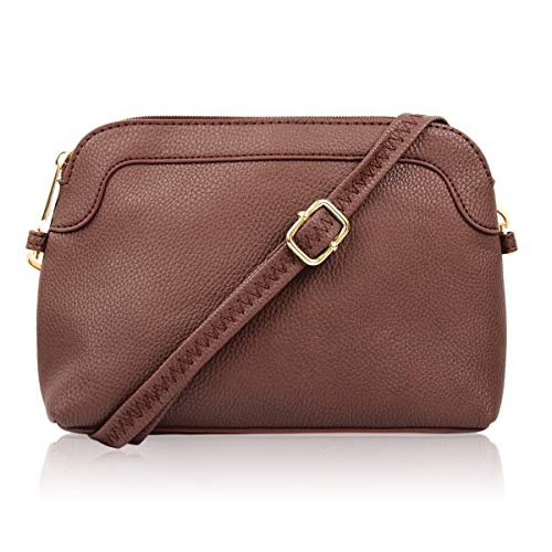 Classic Rectangle Vegan Leather Small Purse Handbag - Structured Camera Messenger Travel Shoulder Crossbody Strap Bag (Classic Dome Crossbody - Brown)