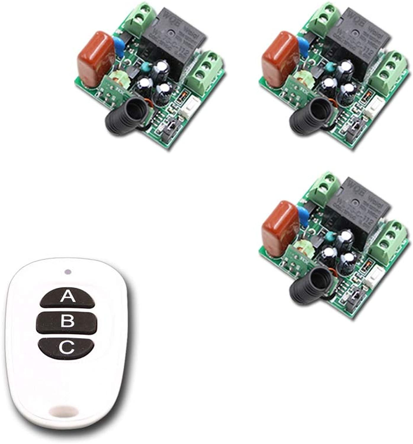 New Mini Size RF Wireless Remote Control Switch System Waterproof Transmitter & 3pcs Receivers315 433mhz Learning Code(color  433MHZ)