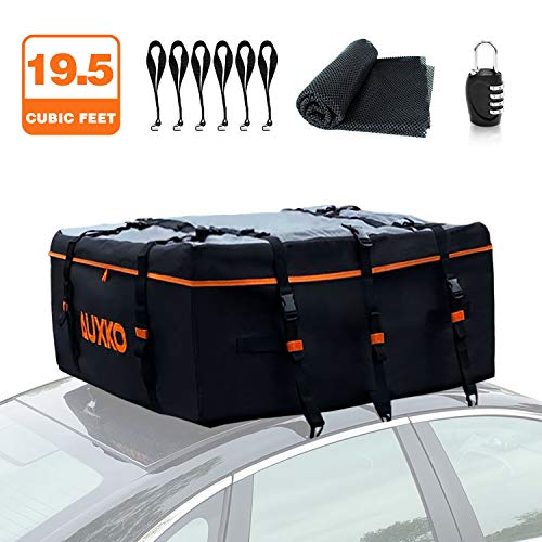 Auxko Car Roof Bag, 19.5 Cubic Feet Truck Pickup Rooftop Cargo Carrier 100% Waterproof Fits All Vehicle with/Without Rack, Includes 6 Door Hooks | Anti-Slip Mat | Lock | 1 Storage Bag