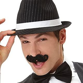 Wacky Facial Hair Black Mini Handlebar Moustache Costume Accessory, Self Adhesive, 1 piece