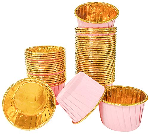 50PCS Aluminum Foil Cupcake Baking Cups,2.5Inch Mini Paper Disposable Muffin Cake Baking Cups,Gold Cupcake Liners Ramekin Holder Cup,Foil Paper Cupcake Baking Mold Cups for Party Wedding Festival,Pink
