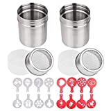 2 Pcs 10oz Stainless Steel Powder Shakers, TuNan Coffee Cocoa Cinnamon Dredges with Fine-M...