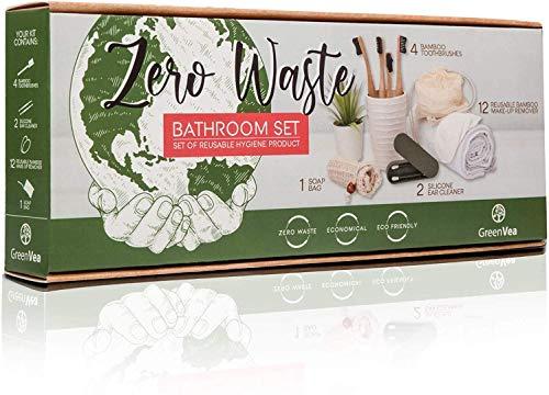 Greenvea – Kit Cero waste – Contiene: cepillos de dientes de madera de bambu x4, desmaquillante lavable de algodon x12, limpiador de oídos de silicona x2 + 1 bolsa de jabón. Reutilizable y eco