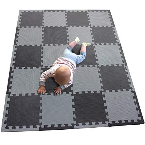 MQIAOHAM 20 stks kinderen puzzel mat speelmat pleinen speelkleed tegels babymatten voor vloer zachte speelmatten meisje tapijt in elkaar grijpende schuim vloermatten voor baby zwart grijs 104112