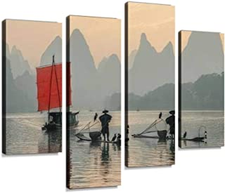 Fisherman stands on traditional bamboo boats at sunrise boat with a Canvas Print Artwork Wall Art Pictures Framed Digital ...