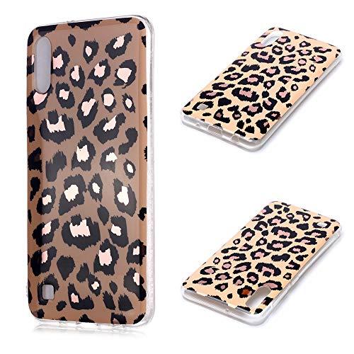 Nadoli Galvanisieren Marmor Handyhülle für Samsung Galaxy A10,Weich Silikon Marble Hülle Schlank Bumper Handytasche Flexible Schutzhülle Back Cover,Leopard Korn