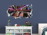 BAOJIAN Breakthrough Wall Sticker 3DMachine Arcade Wall Decal Decoration Game Smashed 3D Sticker Vinyl Art