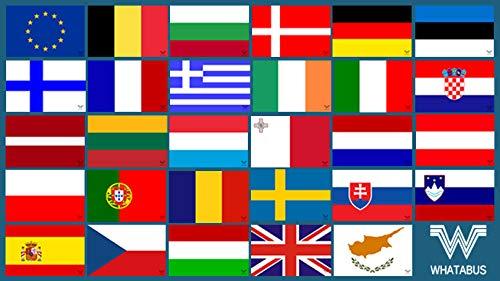 WHATABUS EU - Alle Länderflaggen der Europäischen Union - Aufkleber Set - 29 Sticker