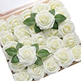 DerBlue 60pcs Artificial Roses Flowers Real...