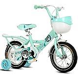 FUFU 14,16,18inch Originales de Las niñas de la Bici, Bicicleta luz Verde, con el Frente de la Cesta, Entrenamiento Ruedas y Guardabarros (Size : 16in)