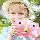 Abhsant Bubble Machine, Children's Electric Bubble Blowing Machine Toys with Light & Dynamic Music, Boys & Girls Automatic Bubble Camera Machine Favor Gifts for Game Party, Outdoor Activity pink