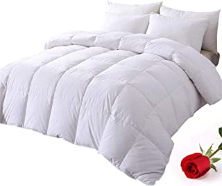 DOWNCOOL 100% Cotton Quilted Down Comforter with Corner Tabs - White Goose Duck Down Feather Filling - Lightweight and Medium Warmth Box Stitched All-Season Duvet Insert - Full/Queen
