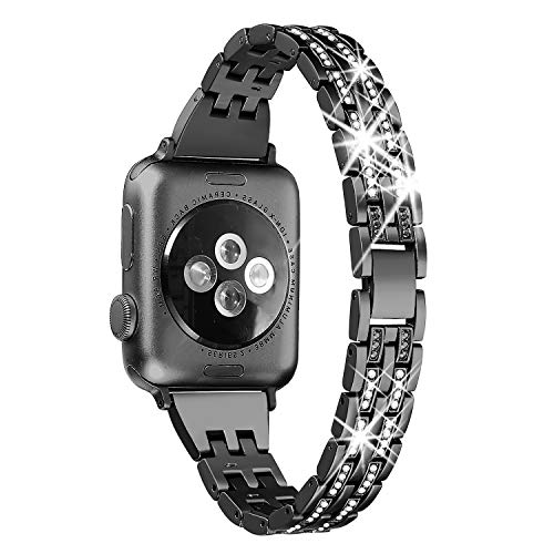 Secbolt Slim Bling Bandas Compatible Apple Watch Band 38 mm iWatch Series 3, Serie 2, Series 1, Diamond Rhinestone Metal Jewelry Band Strap, 4 Colores Disponibles, Negro (black-38mm)