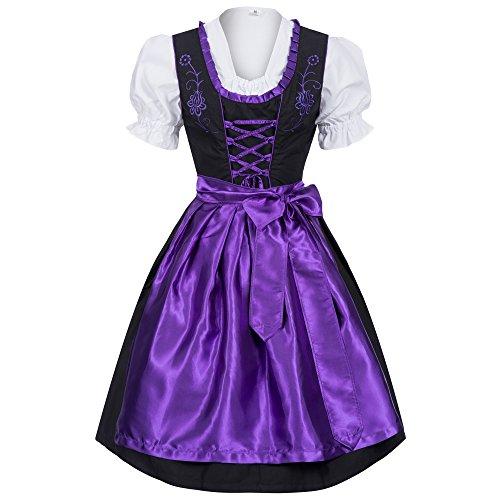 Gaudi-Leathers Damen Dirndl Kleid Dirndlkleid Trachtenkleid Midi schwarz Leuchtend lila 38