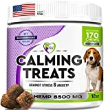 Calming Treats for Dogs - Advanced Anxiety and Stress Relief - Calm Behavior Bites with Organic Hemp Oil + Valerian - Storms, Fireworks, Separation, Barking Aid - Made in USA - 170 Soft Chews
